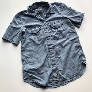 Madewell Chambray Button Up Roll Tab Shirt Top